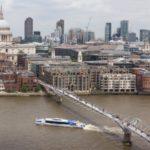 St Pauls Millennium bridge thames clippers London river thames