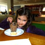 rosie eats chocolate pudding at canteen at the royal festival hall southbank london