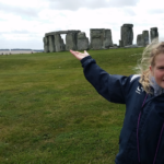 girl in front of stonehenge