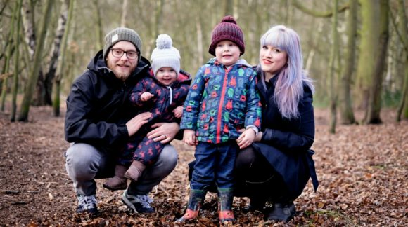 wafflemama and family in woods