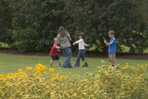 children playing in kew gardens London