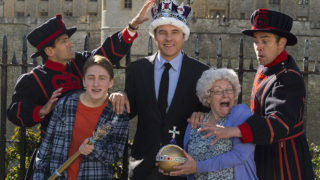 David Walliams with the cast of Gangsta Granny live.