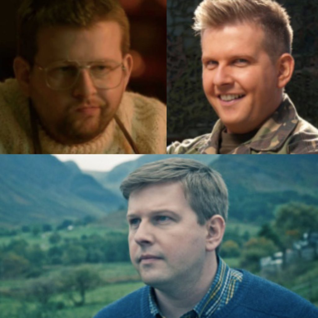 Montage pic of Greg McHugh as Howard, Gary and Eddie - Gary Tank Commander, Fresh Meat and The A Word.