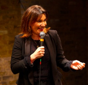 Wendy Wason performing stand-up