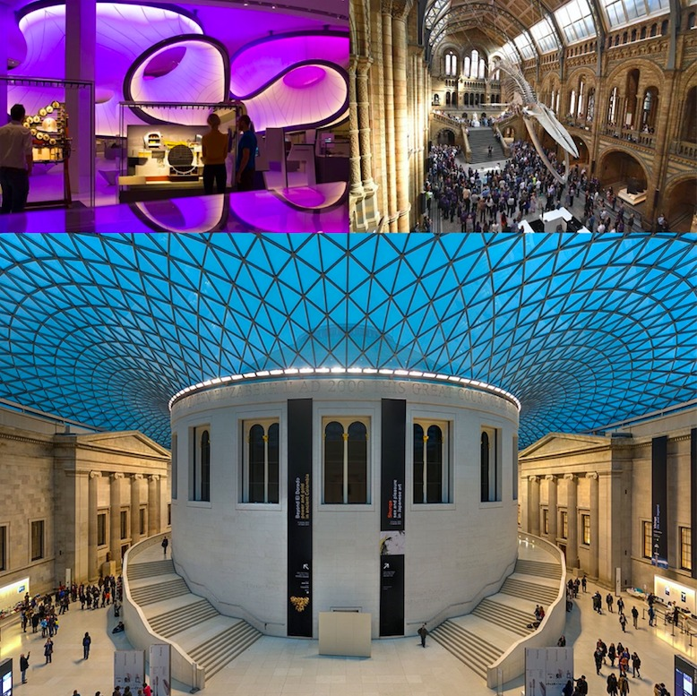 A montage picture featuring three UK museums - Science, Natural history and British Museum