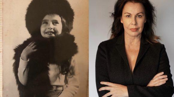 Julie dressed up as a kid next to modern day Julie.