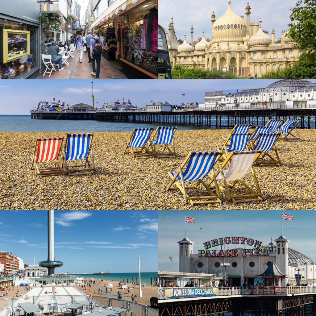 A montage of Brighton's famous landmarks including The Lanes; The Pavilion; The Beach; The SeaFront & The Pier