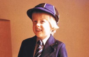 Marek Larwood as a kid in his school uniform