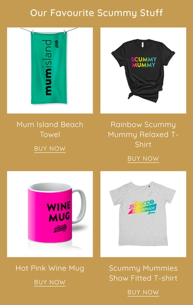 Scummy Mummies' towel, t-shirts and mug