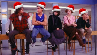 Stars of the Breakfast Club movie - Judd Nelson, Emilio Estevez, Ally Sheedy, Molly Ringwald and Anthony Michael Hall - with photoshopped Christmas hats on