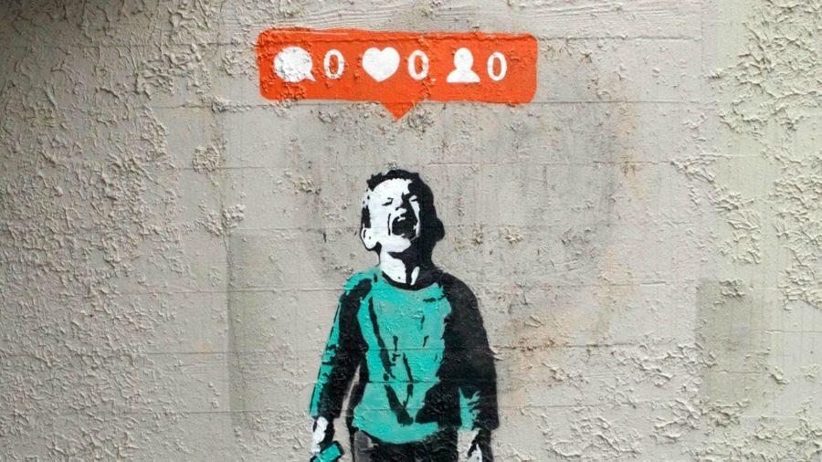 Boy crying by Banksy